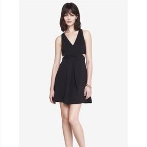 Express Black Crossover Cut Out Skater Dress